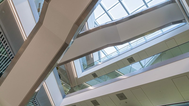 Office architecture, angular stairwell, modern