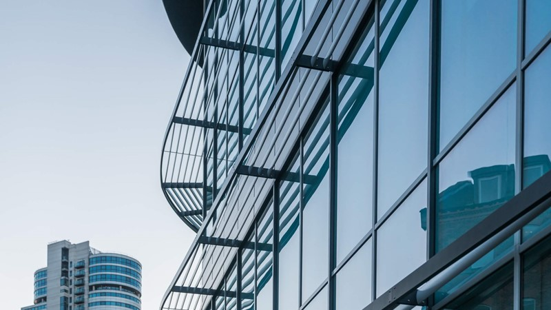 Modern office building, glass frontage